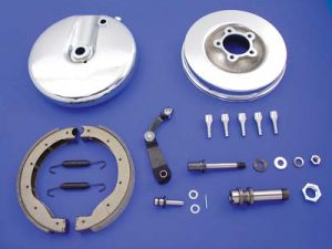 Front Brake Backing Plate Kit Left Side Chrome: FL 1949-1966