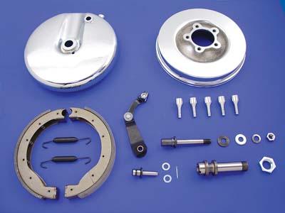Front Brake Backing Plate Kit Left Side Chrome: FL 1949-1966
