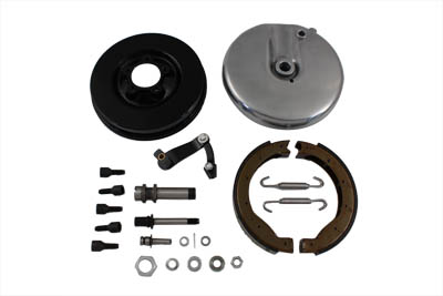 Front Brake Backing Plate Kit Left Side Black FL 1949-1966