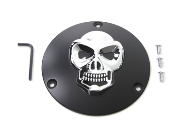 Black Derby Cover with Chrome Skull