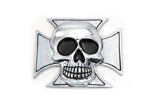 Pewter Maltese Cross with Skull Emblem