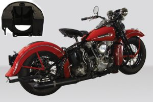rigid frame Harley Davidson Bobber with an authentic vintage racing upgrade
